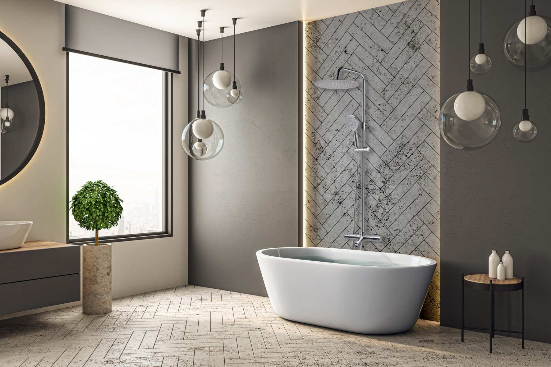 New Oneo colonne bain et douche avec thermostatique chrome